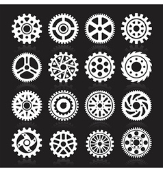 set gear icons on black background vector image