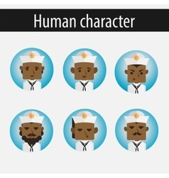 set men African American character sailor vector image