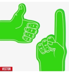 Set of Sports Fans holding Foam Fingers vector image