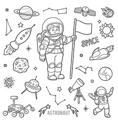 set with astronaut and space objects black and vector image