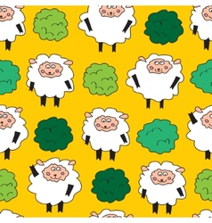 Sheep and shrubs Seamless pattern vector image