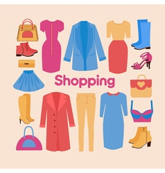 Shopping and Beauty Set in Flat Design Accessories vector image
