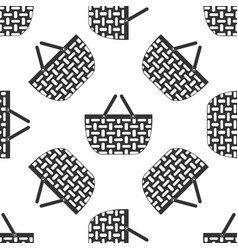 Shopping basket icon seamless pattern on white vector