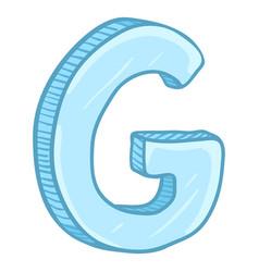 Single cartoon - ice blue letter g vector