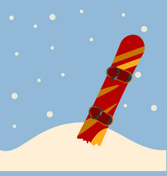 Snowboard standing in snow vector