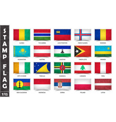 Stamp with official country flag set 7 12 vector