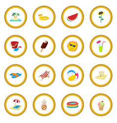 summer icon circle vector image