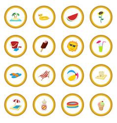 Summer icon circle vector