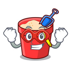 super hero sand bucket character cartoon vector image