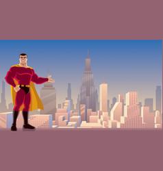 Superhero presenting in city vector