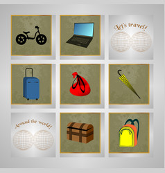 travel icon set on grey and map vector image