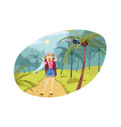 travelling tourism nature hiking concept vector image
