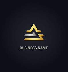 triangle line design gold logo vector image