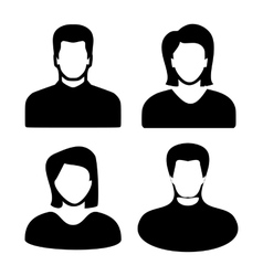 Two men and women black avatar profile picture set vector image