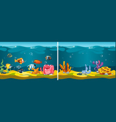 underwater world cartoon fish corals seaweed vector image