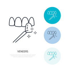 Veneers line icon dental care equipment sign vector