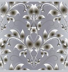 vintage 3d floral damask seamless pattern vector image