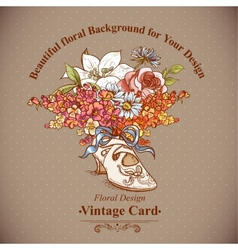 vintage background with flowers and shoes vector image