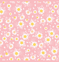 vintage pink daisies ditsy seamless pattern vector image