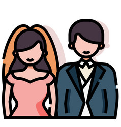 Wedding couple linecolor vector