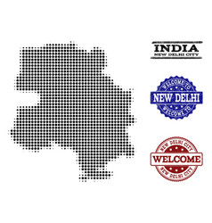 Welcome collage of halftone map of new delhi city vector