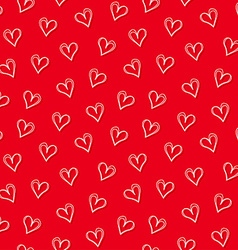White love hearts with red background seamless vector image