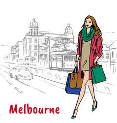 Woman in melbourne australia vector