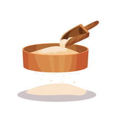 Wooden flour sifter and scoop baking ingredient vector