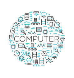word computer surrounded icons vector image