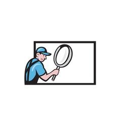 Worker Magnifying Glass Billboard Cartoon vector