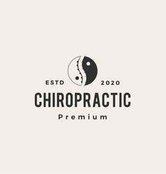 Yin yang chiropractic hipster vintage logo icon vector