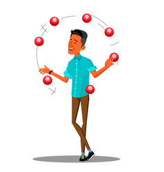 young man juggling with colored balls vector image