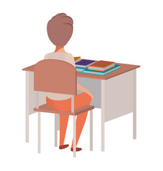 young student boy sitting in school desk vector image