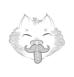 zen tangle cat with moustache vector image