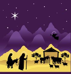 christmas nativity mary and joseph 3 vector image vector image