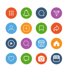 colorful simple social media icon set vector image