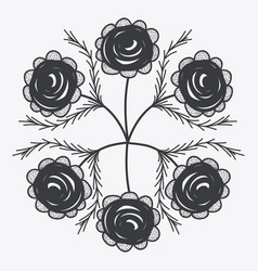 gray rustic roses icon vector image