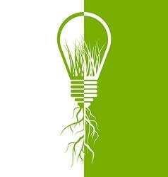 Green light bulb eco energy concept vector image
