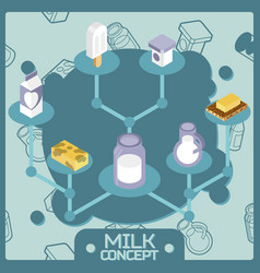 milk color isometric concept icons vector image