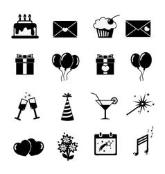 Set of celebratory icons symbols vector image
