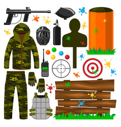 set of paintball club symbols icons protection vector image