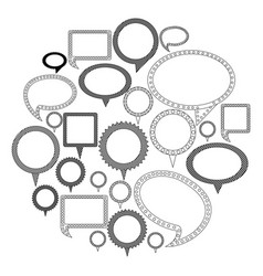 silhouette differents figures cah bubbles icon vector image vector image