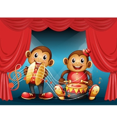 Two monkeys performing at the stage vector image vector image