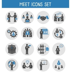 Flat business people meeting icons set vector image vector image