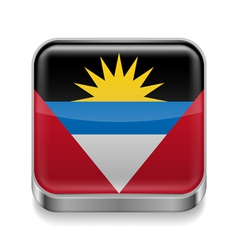 Metal icon of Antigua and Barbuda vector image vector image