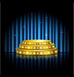 spotlight golden of empty stage with blue curtain vector image