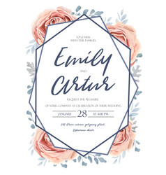 Wedding invite invitation floral flower card vector