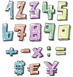 Colorful sketchy hand drawn numbers vector image vector image