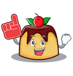 Foam finger pudding character cartoon style vector