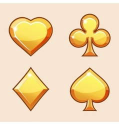 Gold icons of playings cards vector image